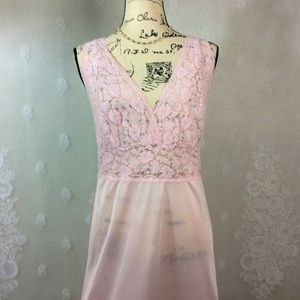 Pale Pink Semi Sheer Lace Slip Nightie 36